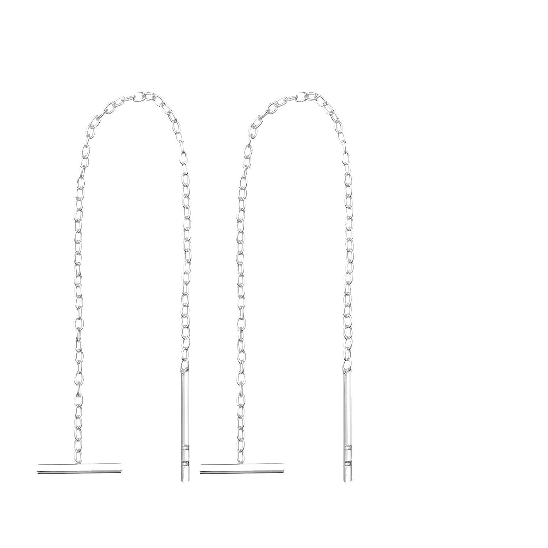Chaine et Barre Horizontale TATA GISELE /© Boucles dOreilles en Argent 925//000 Rhodi/é Pendantes des 2 Cot/és Sans attache