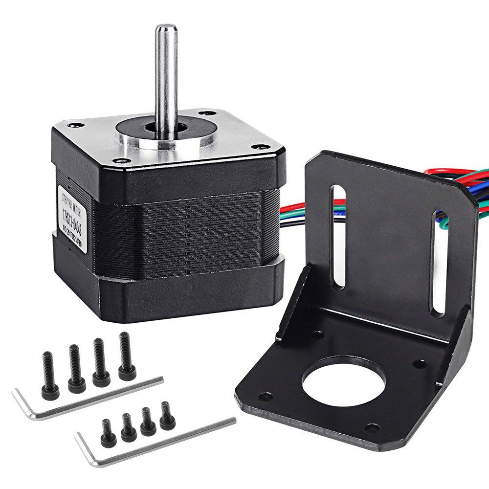 Nema 17 Stepper Motor 4-Lead 1.8 Deg 26N.cm Holding Torque 0.4A 42 Motor with Motor Mounting Bracket and Screws for 3D Printer//CNC Stepper Motor