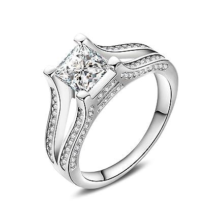 Skyllc Joyería de moda de oro blanco plateado diseño cuadrado anillos de boda de compromiso femenino