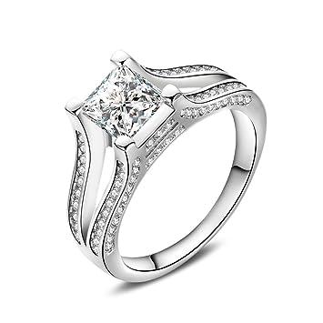 Skyllc Joyería de moda de oro blanco plateado diseño cuadrado anillos de boda de compromiso femenino: Amazon.es: Juguetes y juegos
