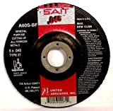 United Abrasives SAIT 22071 Type 27 5-Inch x .045-Inch x 7/8-Inch A60S General Purpose Depressed Center Grinding Wheels, 50-Pack