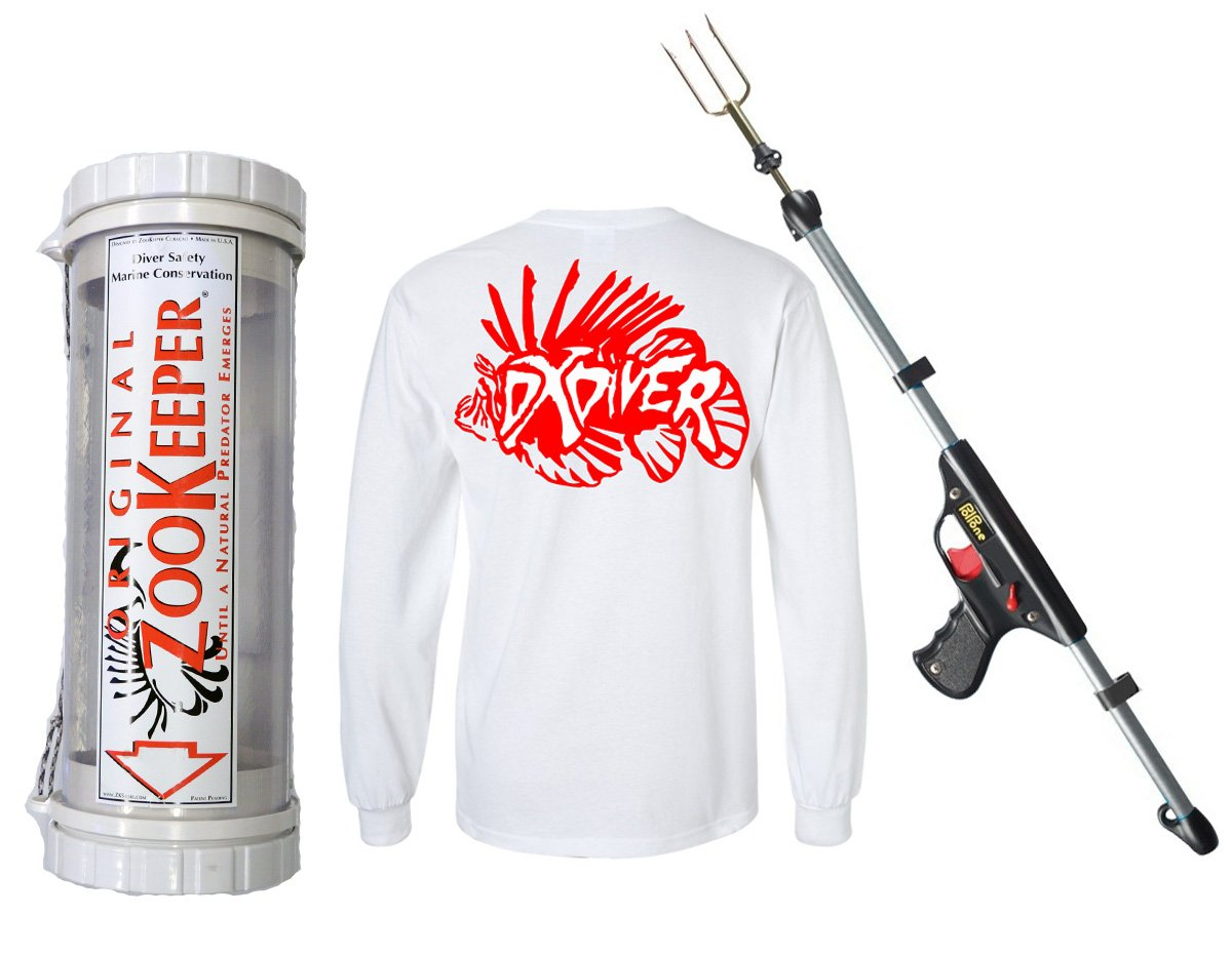 Lionfish Pack 24'' Zoo Keeper Clear Containment Unit M LCU-16 + SEAC Polpone 50 Spring Gun with FREE DXDiver Wicking Shirt Sun Protection Scuba Diving Freediving Spearfishing Longsleeve T-Shirt LARGE by ZooKeeper SEAC