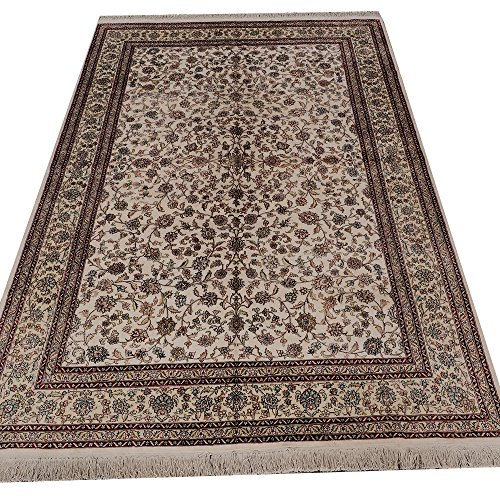 Yilong 6'x9′ 300Lines Persian Silk on Silk Rugs Vintage Oriental All-Over Floral Handmade Carpet