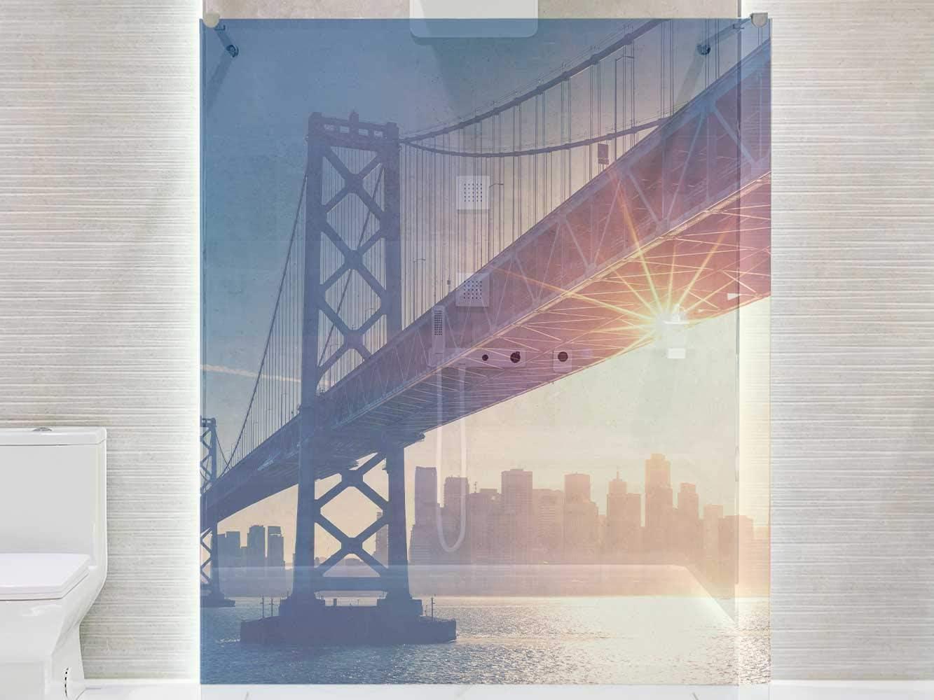 Adhesivo Resistente y de F/ácil Aplicaci/ón Varias Medidas 185x60cm Vinilo Transparente para Mamparas de Ducha y Ba/ños Puente Manhattan Pegatina Adhesiva Decorativa de Dise/ño Elegante