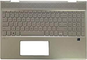 Replacement for HP Envy x360 15 DR 15T-DR000 15T-DR000 15T-DR100 Convertible 15-dr1009TU Laptop Upper Case Palmrest Keyboard Touchpad Assembly Part L56974-001 Top Cover Sliver