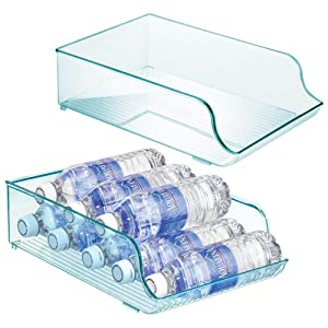 mDesign Wide Plastic Kitchen Water Bottle Storage Organizer Tray Rack - Holder and Dispenser for Refrigerators, Freezers, Cabinets, Pantry, Garage - 2 Pack - Sea Blue