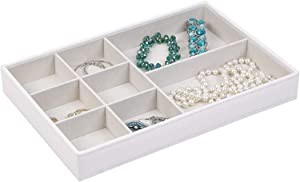 Richard Homewares Jewelry Storage Organizer Tray, 8-Compartment Without Ring Holder, Pebbled White