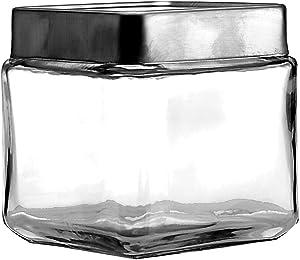 Anchor Hocking 1-Quart Stackable Jars with Brushed Aluminum Lid, Set of 6