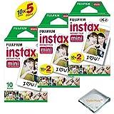 Fujifilm INSTAX Mini Instant Film (White) For Fujifilm Mini 8 & Mini 9 Cameras w/ Microfiber Cloth by Quality Photo (50 Film Sheets)