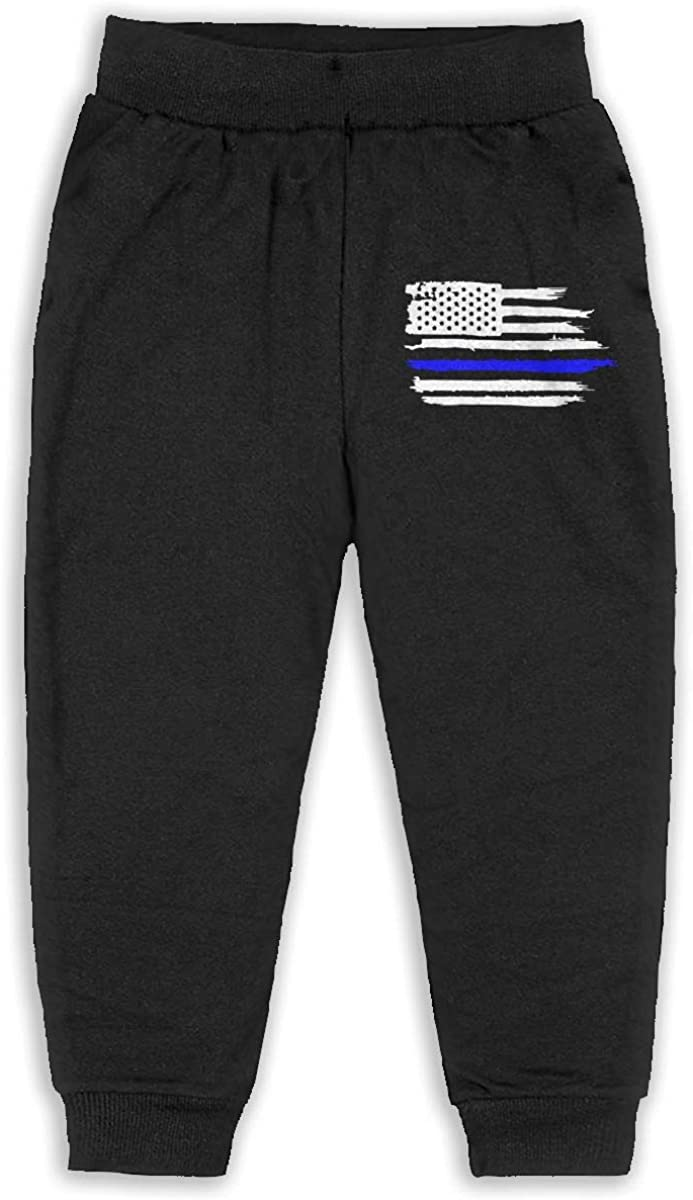 Child GHYNJUM American Flag Thin Blue Line Police Officer Unisex 2-6T Autumn Winter Cotton Casual Sweatpants