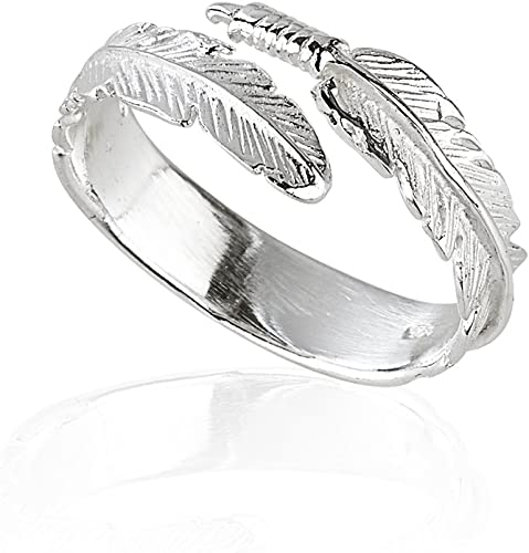 2019 Women Silver Feather Ring Friendship Wedding Party Ladies Jewelry Charming