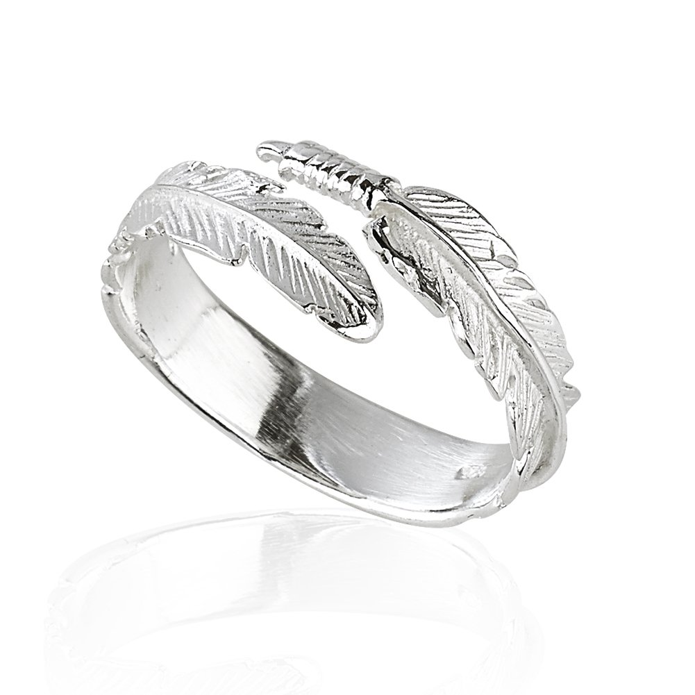 Solid 925 Sterling Silver Angel Wing Feather Adjustable Ring Size L-R Gift Boxed Silver Rock Jewellery 88997880