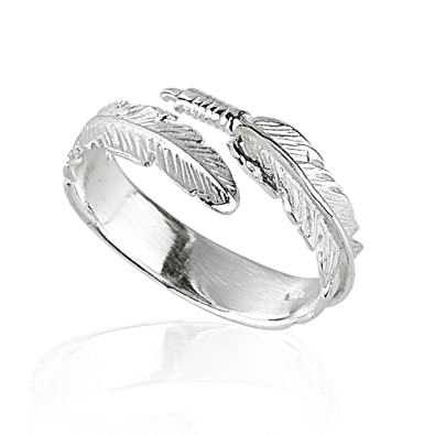 Purposefull Women's Ring - Feather Design - 925 Sterling Silver - Fashion Accessory - Adjustable Jewellery yQFuSRaY