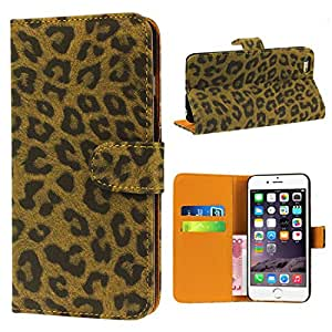 Bessky 1pc Cool Leopard Case!5.5inch Leopard Wallet Leather Hard Case Cover for iphone 6 (Brown)