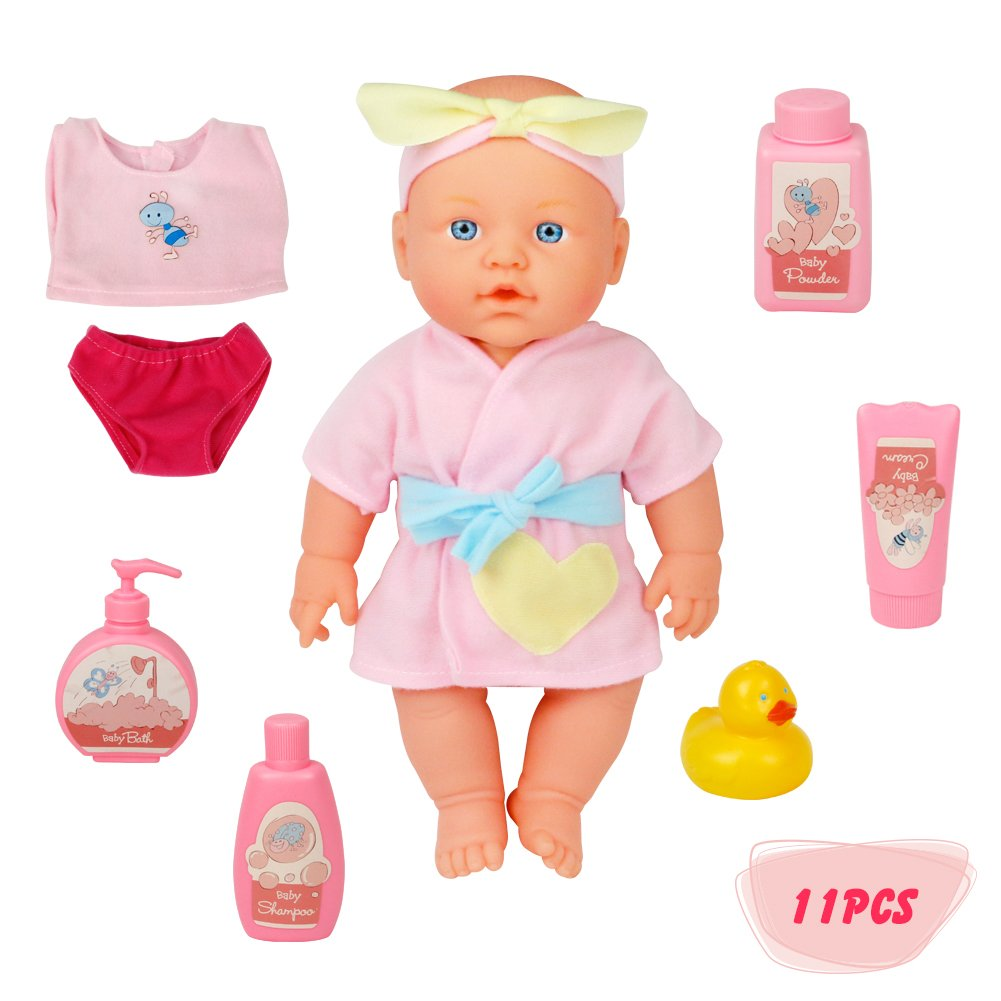 jerryvon Baby Doll Toy Girl Bath Playset Realistic Pretend Play Washable Gifts Accessories for Baby Kid Toddler 3 4 5 6 Years Old