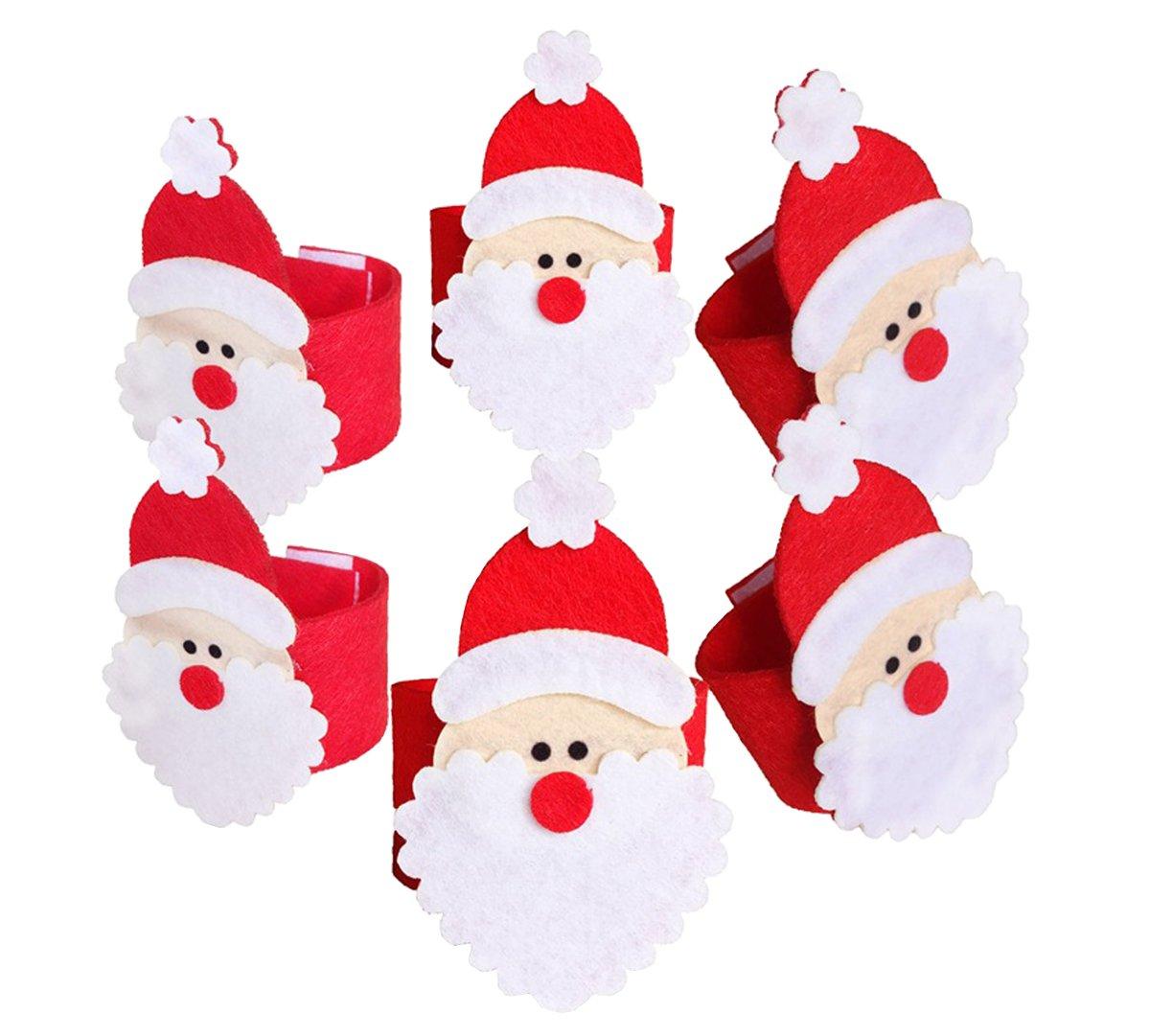 DELEY 6 pz Natale Portatovaglioli Babbo Natale Tovagliolo Anelli Partito Banchetto Cena Decorazioni per la Tavola Stile 1