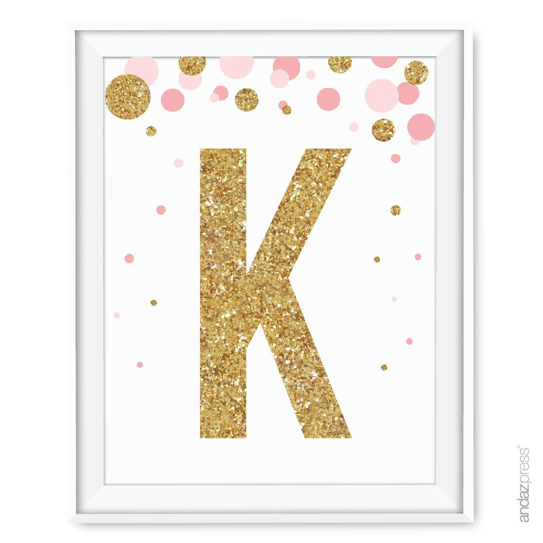 Andaz press nursery wall art decor pink and printed gold glitter letter k 8 5x11 inch 1 pack unframed prints poster