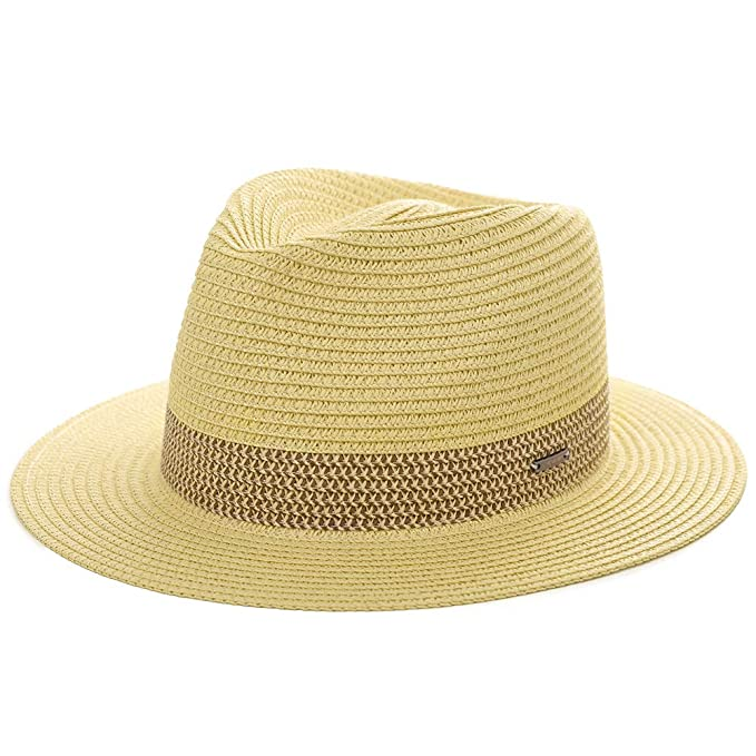 7073c16ab42 Womens Straw Fedora Brim Panama Beach Packable Havana Summer Sun Hat Party  Gardening Hiking Ladies Beige