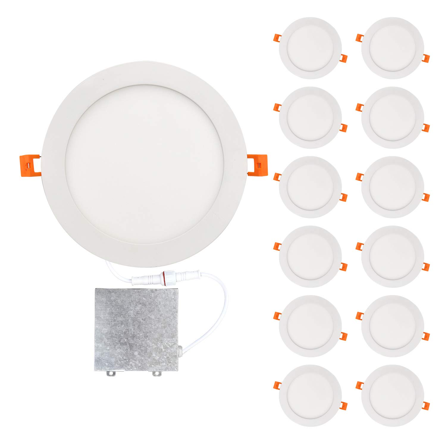 OSTWIN 8 inch 18W (90 Watt Repl.) IC Rated LED Recessed Low Profile Slim Round Panel Light with Junction Box, Dimmable, 3000K Warm Light 1350 Lm. No Can Needed, 12 Pack ETL & Energy Star Listed