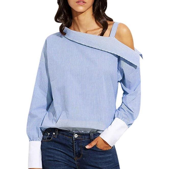 Tongshi Mujeres azul doble rayas hombro asimétrico de manga larga blusa (S, Azul)