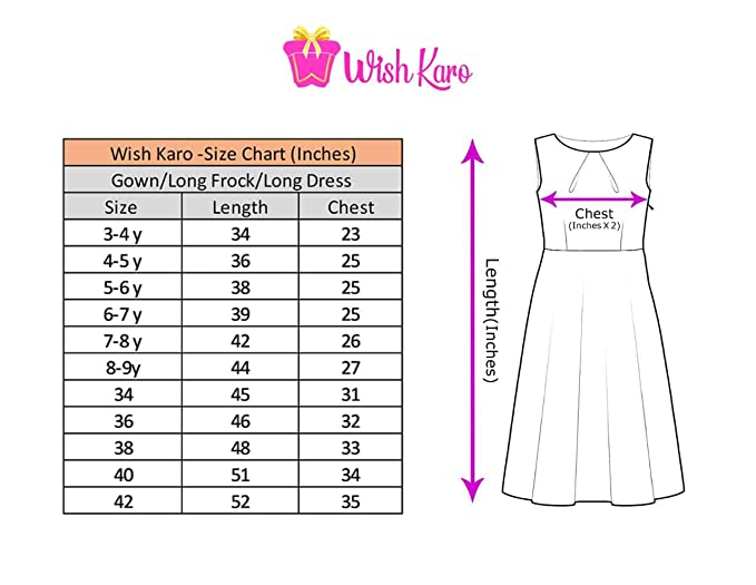 e2fbb81d44 Wish Karo Girls Net Party Wear Long Frock Dress - (LF120org)  Amazon.in   Clothing   Accessories