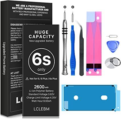 Instruction 2600mAh New 0 Cycle Higher Capacity Replacement Battery for iPhone 6S Model A1633 A1688 A1700 with Complete Tool Kits Adhesive Battery for iPhone 6S