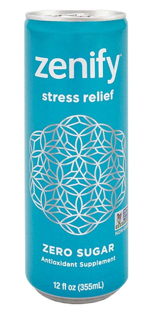 Zenify Zero Sugar All Natural Sparkling Calming Stress Relief Beverage, Formula with L-Theanine, GABA, Vitamin B6, and Glycine, Non-GMO, Gluten-Free, Vegan, 12 Fl Ounce (Pack of 12) by Zenify