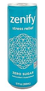 Zenify Zero Sugar All Natural Sparkling Calming Stress Relief Beverage, Formula with L-Theanine, GABA, Vitamin B6, and Glycine, Non-GMO, Gluten-Free, Vegan, 12 Fl Ounce (Pack of 12)