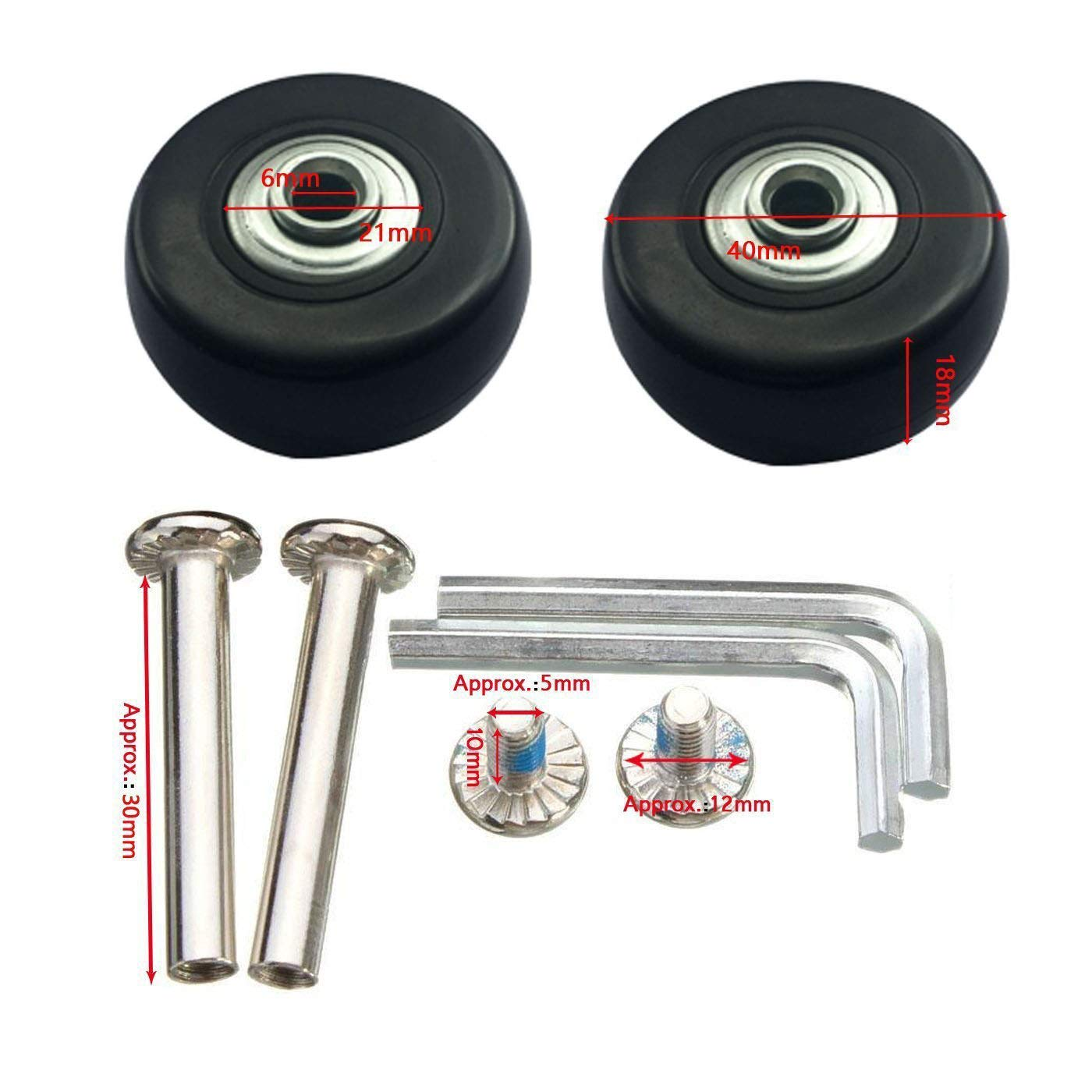 wurthroad Pair Black Luggage Suitcase//Inline Outdoor Skate Replacement Wheels Rollers with ABEC 608zz Bearings