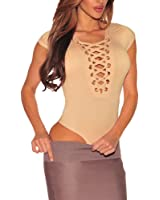 Cfanny Women's Sexy Deep V Neck Lace Up Cap Sleeves Bodysuit Clubwear Tops