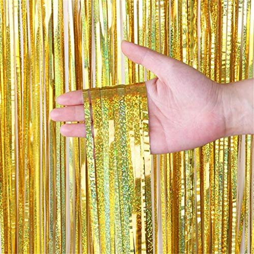 Anasu 2 Pack Foil Fringe Curtain Backdrop Door Window Curtain Tinsel Metallic Curtains Photo Backdrop for Wedding Birthday Baby Shower Party Stage Decor (Gold, 2 Pack 1x3m)