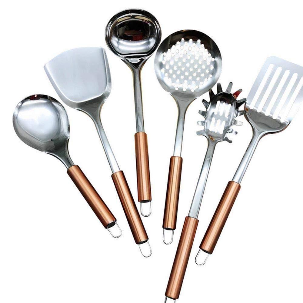 Set da 6 Pezzi Cucina in Acciaio Inox Set da Cucina Friggitrice Spatola con Intaglio scanalato for Migliorare la frittura e la griglia Manico Robusto Ljlpropyh Set di padelle Spatola da Cucina