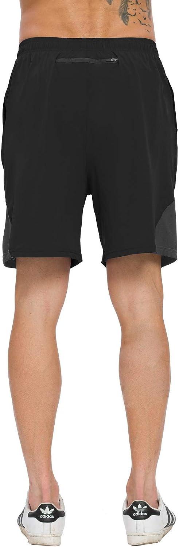 ChinFun Mens 7 Quick Dry Workout Running Shorts Mesh Liner Lightweight Outdoor Active Shorts Deep Zip Pockets