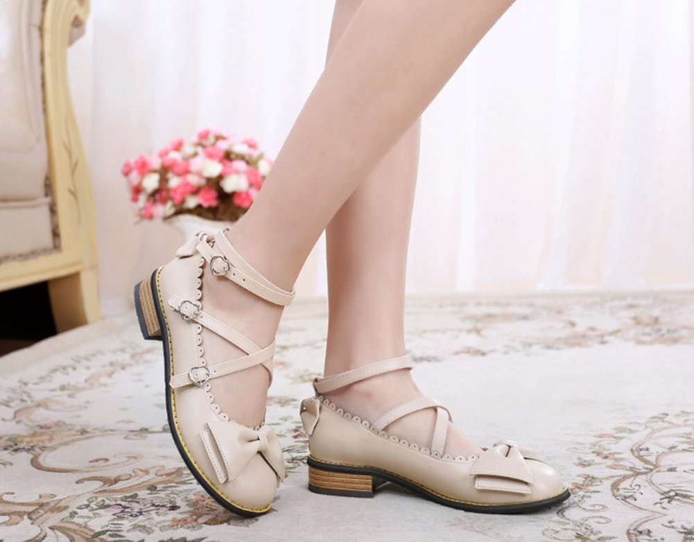 Japanese Sweet Lolita Low Chunky Heels Round Toe Bowtie Strappy Princess Shoes B06XC9PCQ9 6 M US|Beige