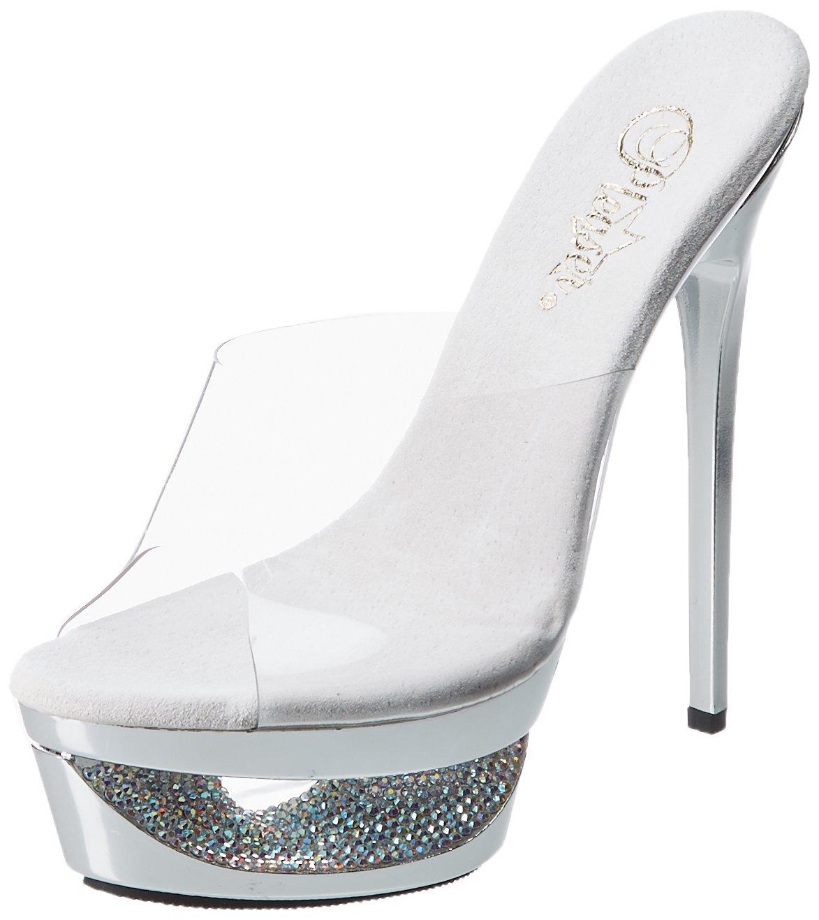 Pleaser Women's Eclipse 601DM Slide Fashion Sandals B00B472MHW 6 B(M) US|Clear / Silver Chrome