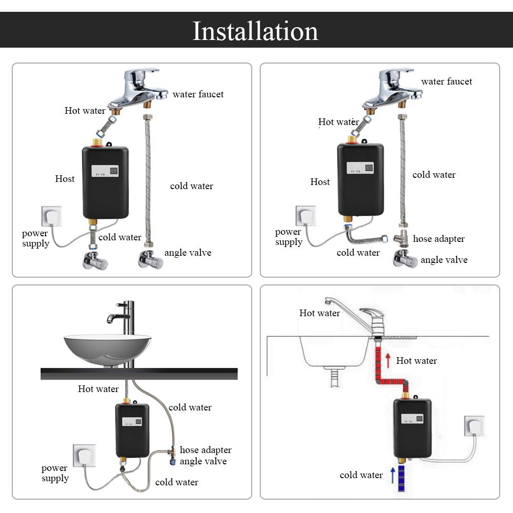 3000W Mini Electric Tankless Instant Hot Water Heater with LCD Display for Home Bathroom Kitchen Washing US Plug 110V (Black) by Garosa (Image #5)