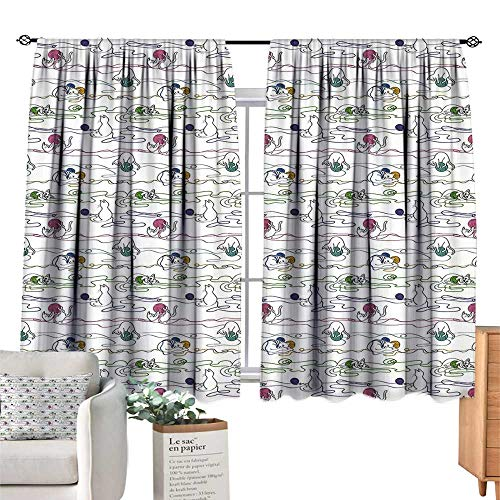 Unprecall Kitten Room Decor for Boys Hand Drawing Style Baby Cats Playing with Colorful Balls of Yarn Kitties Having FunMulticolor Drapes Panels W63 x L45