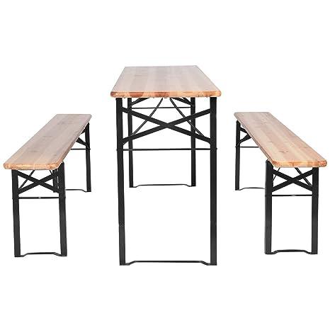 Stupendous 3 Pcs Beer Table Bench Set Folding Wooden Top Picnic Table Patio Garden New For Outdoor Activities Garden Use Creativecarmelina Interior Chair Design Creativecarmelinacom