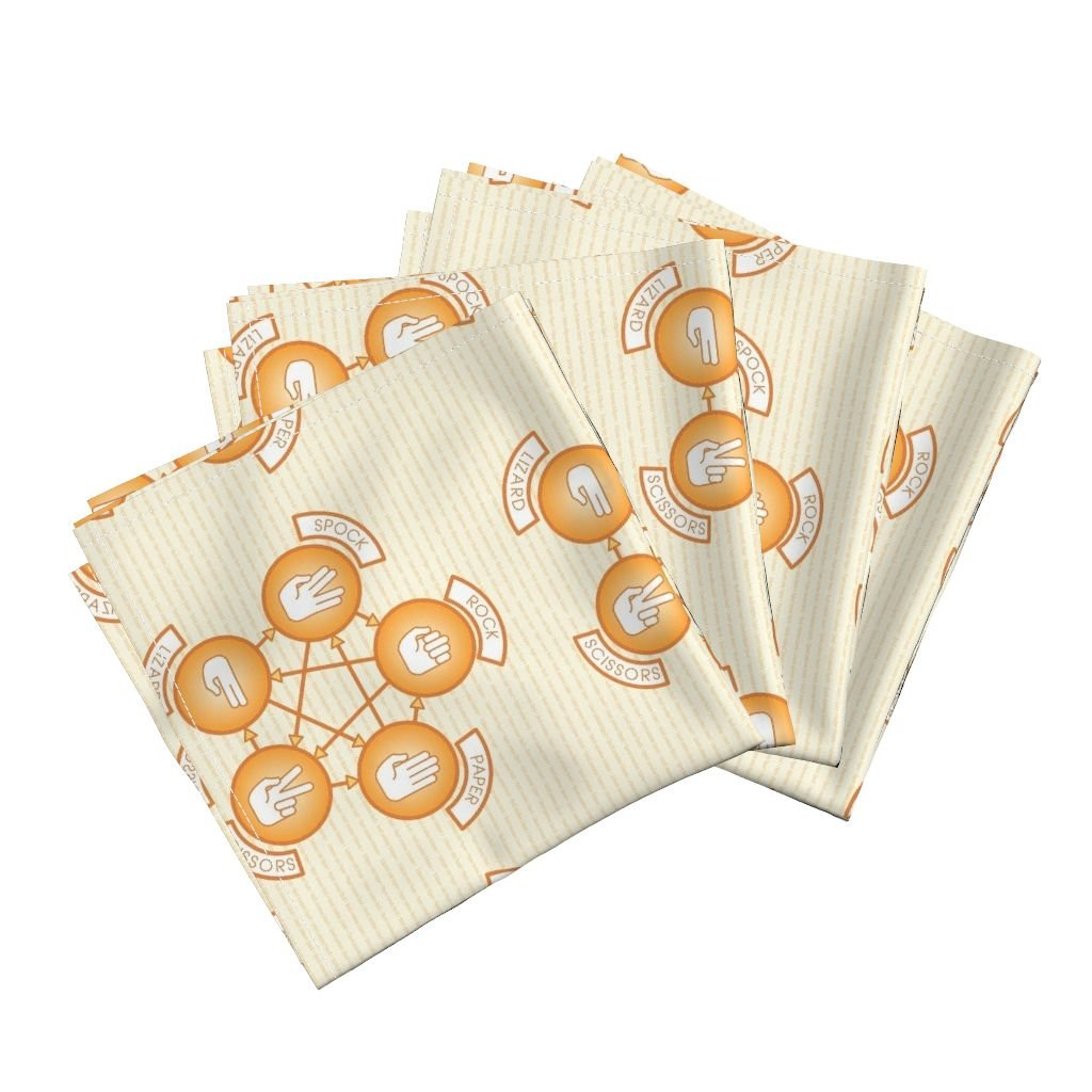 Roostery Game Organic Sateen Dinner Napkins Rock, Paper, Scissor, Lizard, Spock (Orange) by Studiofibonacci Set of 4 Cotton Dinner Napkins Made