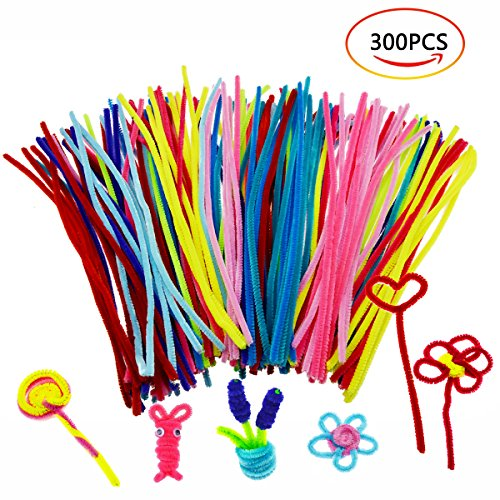Chenille Stems,OWEV 300Pcs Assorted Colors Cleaners Chenille Stems for Art Craft 30cm/ 11.8