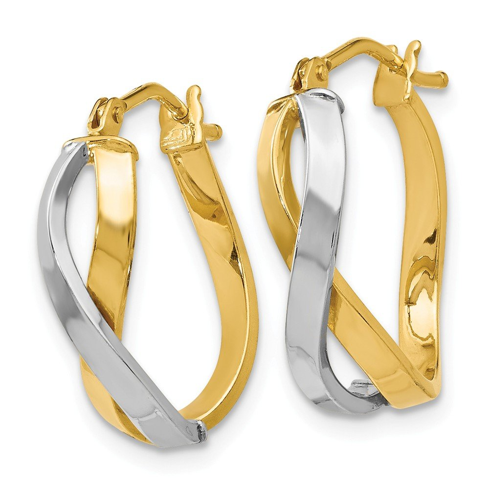 Leslies Real 14kt Two-tone Polished Hinged Hoop Earrings