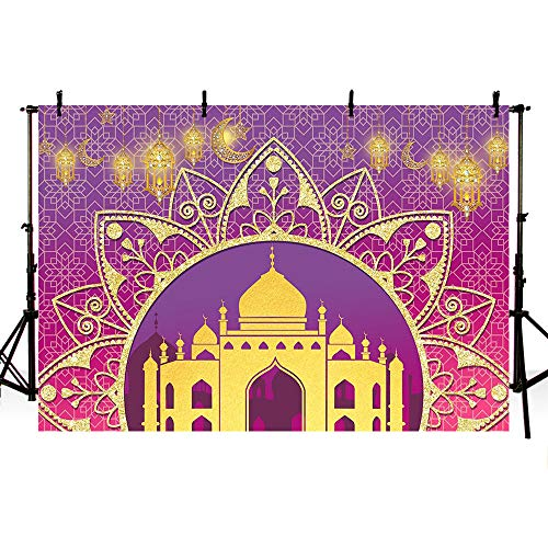 - MEHOFOTO Magic Genie Photo Studio Booth Background Pink and Purple Egyptian Moroccan Arabian Indian Glitter Gold Lights Birthday Baby Shower Photography Backdrops Banner 7x5ft