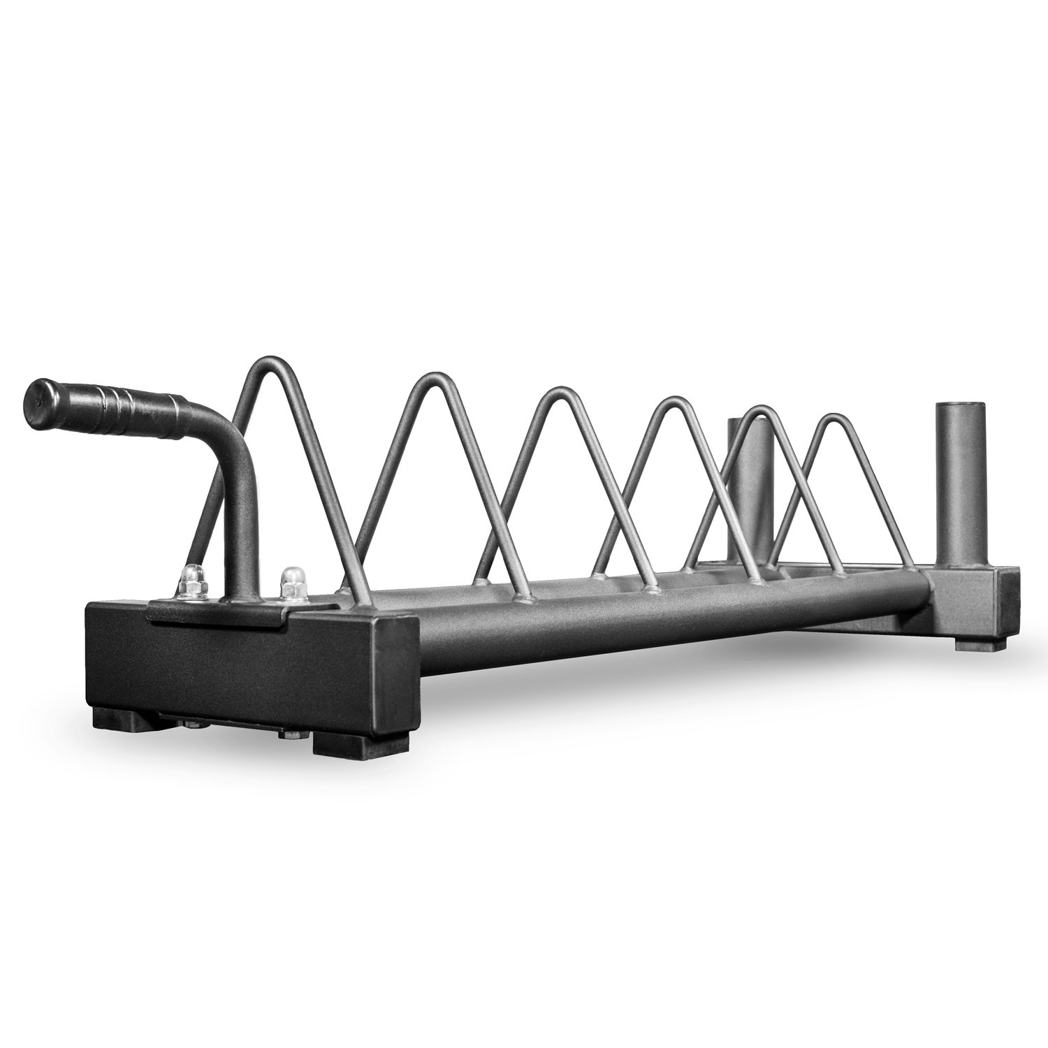 Rep V2 Horizontal Olympic Plate Rack with Wheels and Barbell Storage