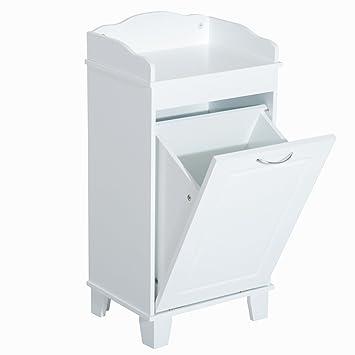 Homcom Meuble Bas de Salle de Bain sur Pied avec Porte basculante bac à  Linge Blanc