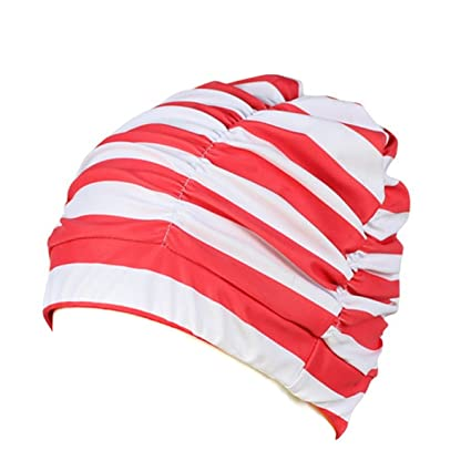 184e68cb99a Eforstore Swimming Caps Long Hair Swim Cap Pleated Cloth Fabric Bathing Hats  Lycra Beanie Hat for