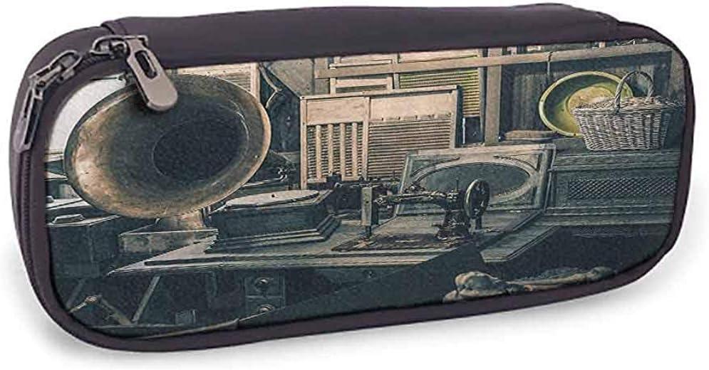 Estuche de lápices Antiguo Inventario de la tienda de antigüedades Máquina de coser de gramófono antiguo y otros artículos de papelería de almacenamiento de principios del siglo XX