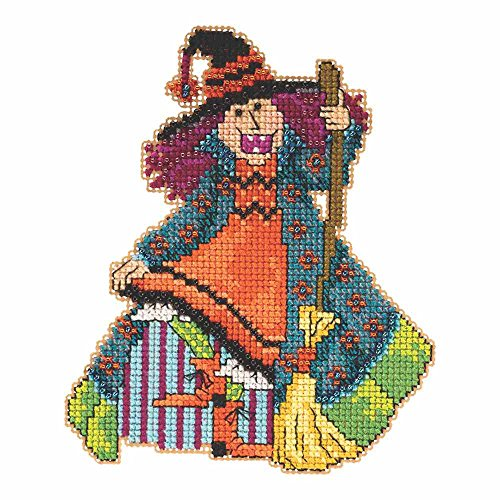 (Mimi the Witch Halloween Beaded Cross Stitch Kit Mill Hill 2015 Hocus Pocus Trilogy MH195202)