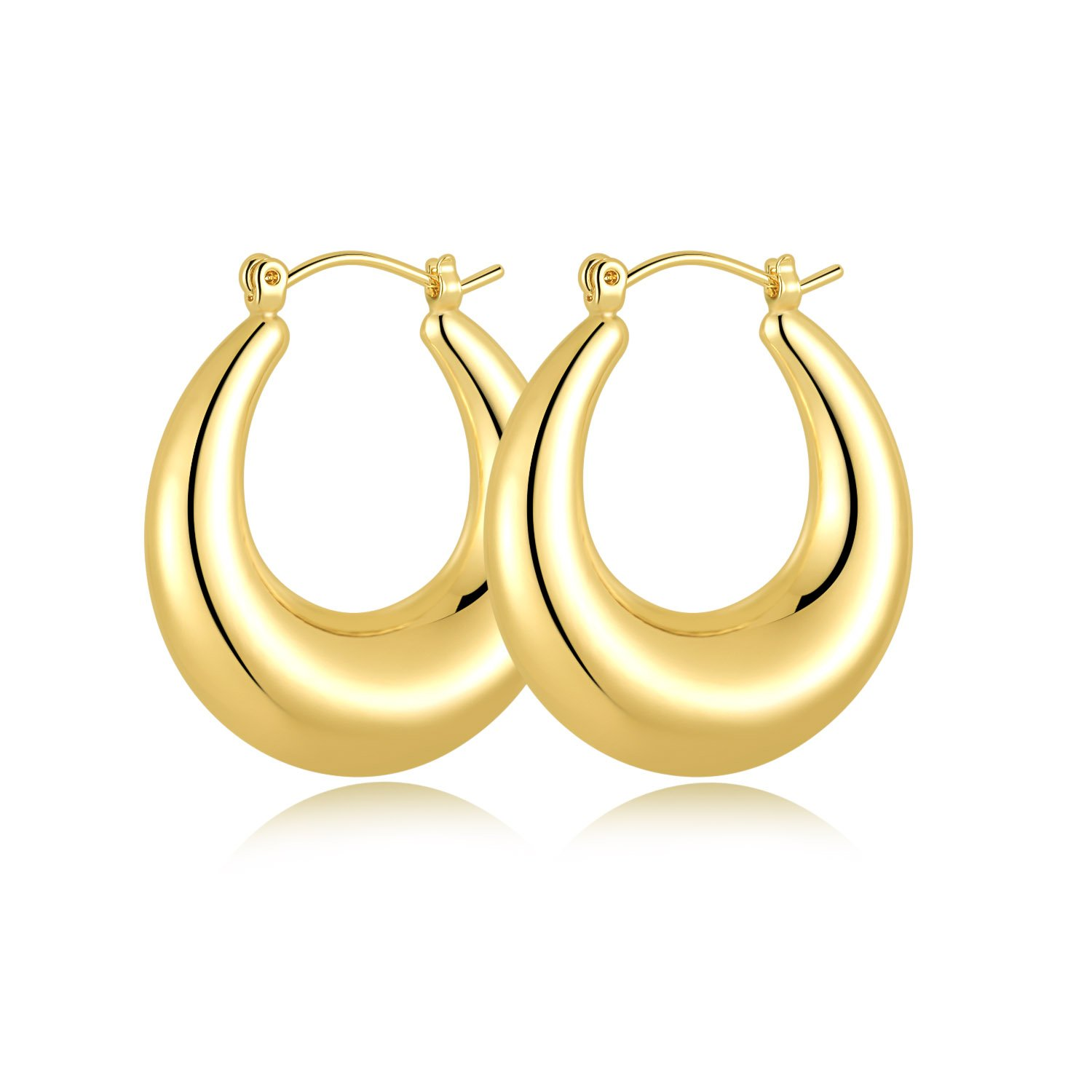 14K Gold Plated Big Hoop Earrings for Women,26X30mm,Unique Fashion Earrings for Girls.