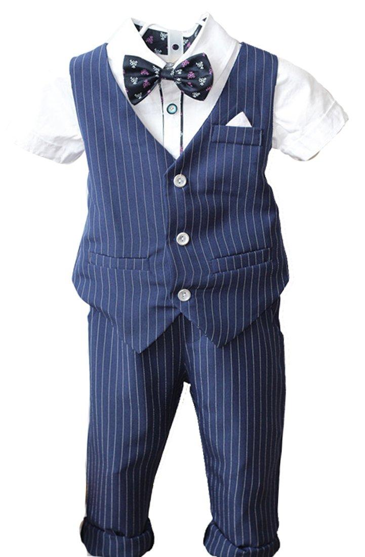 Boys Pinstripe Vest Set Vest + Pants + Shirt 3 Pieces Black & Blue 2 Colors (4T, Blue(Short Sleeve))