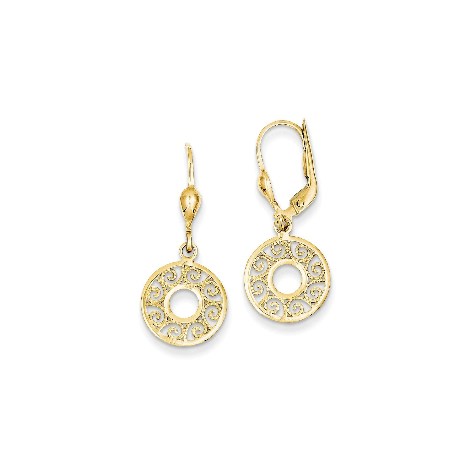 Roy Rose Jewelry 14K Yellow Gold Leverback Filigree Earrings
